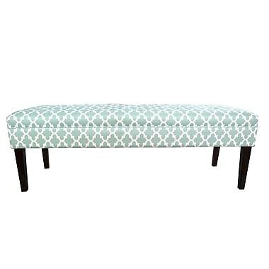 MJLFurniture Kaya Fulton Upholstered Bench; Aqua/White