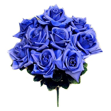 AdmiredbyNature 9 Stems Artificial Full Blossoms Rose Bush; Blue