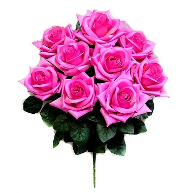 AdmiredbyNature 9 Stems Artificial Full Blossoms Rose Bush; Orchid