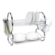 Home Basics 2 Tier Dish Drainer; Chrome
