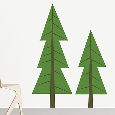 Sunny Decals 2 Piece Modern Pine Tree Wall Decal Set; Dark Green