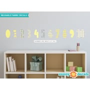 Sunny Decals 11 Piece Modern Numbers Wall Decal Set; Yellow/Gray/White