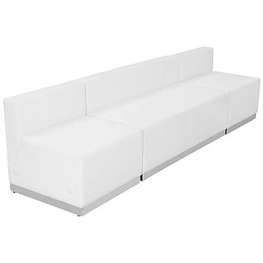 Flash Furniture – Mobilier de réception HERCULES Alon en cuir blanc, 3 modules (ZB803680SWH)