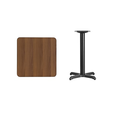 Flash Furniture 24'' Square Laminate Table Top, Walnut with 22'' x 22'' Table Height Base (XUWA2424T2222)