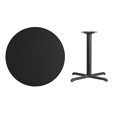 Flash Furniture 36'' Round Laminate Table Top, Black, 30'' x 30'' Table Height Base (XURD36BKT3030)