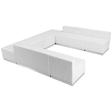 Flash Furniture Hercules Alone Series Leather Reception Configuration, White, 8 Pieces (ZB803710SWH)