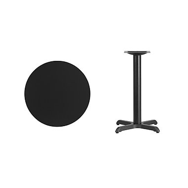 Flash Furniture 24'' Round Laminate Table Top, Black, 22'' x 22'' Table Height Base (XURD24BKT2222)