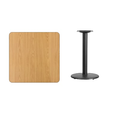 Flash Furniture 30'' Square Laminate Table Top, Natural with 18'' Round Table-Height Base (XUNT3030TR18)
