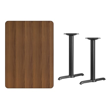 Flash Furniture 30'' x 42'' Rectangular Laminate Table Top, Walnut with 5'' x 22'' Table-Height Bases (XUWA3042T0522)