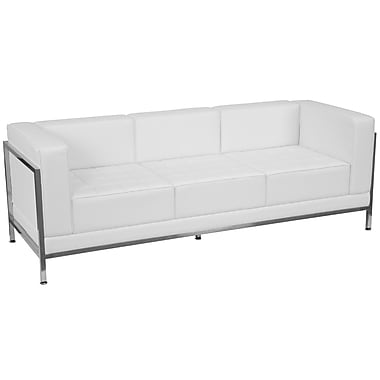 Flash Furniture – Divan contemporain en cuir série HERCULES Imagination, blanc avec garnitures en inox (ZBIMAGSOFAWH)
