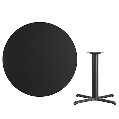 Flash Furniture 42'' Round Laminate Table Top, Black with 33'' x 33'' Table-Height Base (XURD42BKT3333)