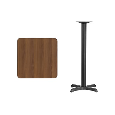 Flash Furniture – Table bistro carrée en stratifié noyer de 24 po avec base de 22 x 22 po (XUWA2424T2222B)
