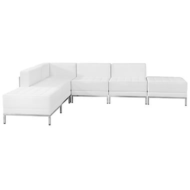 Flash Furniture Hercules Imagination Series Leather Sectional Configuration, 6 Pieces, White (ZBIMAGSECTSET8W)