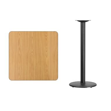 Flash Furniture 30'' Square Laminate Table Top, Natural with 18'' Round Bar-Height Table Base (XUNT3030TR18B)