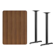 Flash Furniture 30''L x 42''W Rectangular Laminate Table with 5''W x 22''L Bar Height Table Bases, Walnut (XUWA3042T0522B)