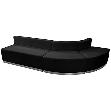 Flash Furniture Hercules Alone Series Leather Reception Configuration, 3 Pieces, Black (ZB803790SBK)