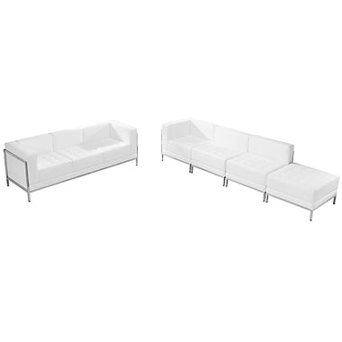 Flash Furniture – Ensemble avec divans et pouf HERCULES Imagination en cuir blanc, 5 modules (ZBIMAGSET16WH)