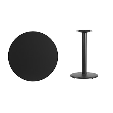 Flash Furniture 30'' Round Laminate Table Top, Black with 18'' Round Table-Height Base (XURD30BKTR18)