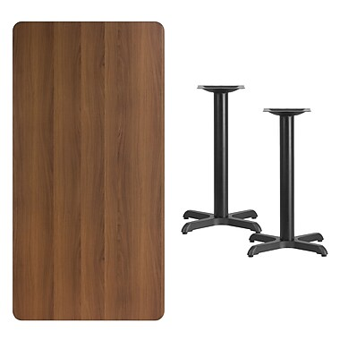 Flash Furniture 30'' x 60'' Rectangular Laminate Table Top, Walnut with 22'' x 22'' Table-Height Bases (XUWA3060T2222)
