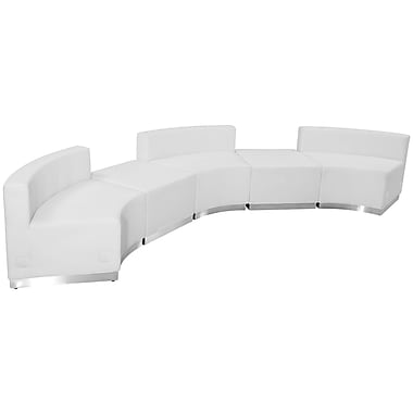 Flash Furniture Hercules Alone Series Leather Reception Configuration, 5 Pieces, White (ZB803810SWH)