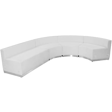 Flash Furniture Hercules Alone Series Leather Reception Configuration, White, 4 Pieces (ZB803760SWH)