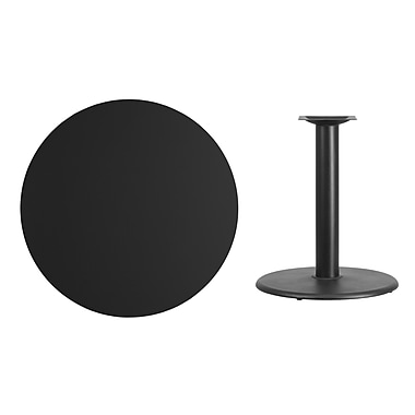 Flash Furniture 36'' Round Laminate Table Top, Black with 24'' Round Table-Height Base (XURD36BKTR24)