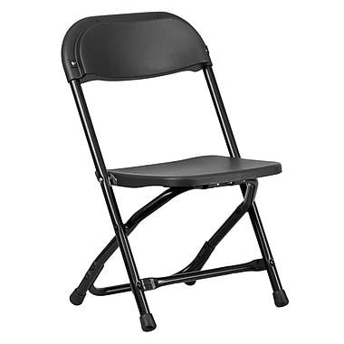 Flash Furniture Kids Plastic Folding Chair, Black Powder Coated Frame Finish, (YKIDBK)