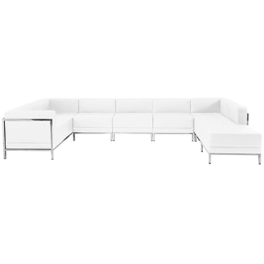 Flash Furniture Hercules Imagination Series Leather U-Shape Sectional Configuration, 7 Pieces, White (ZBIMAGUSECSET4W)