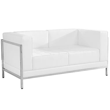 Flash Furniture – Causeuse contemporaine en cuir série HERCULES Imagination, blanc avec garnitures en inox (ZBIMAGLSWH)