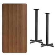 Flash Furniture 30'' x 60'' Laminate Table Top, Walnut, 22'' x 22'' Bar Height Table Bases (XUWA3060T2222B)