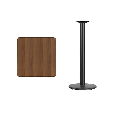 Flash Furniture 24'' Square Laminate Table Top, Walnut with 18'' Round Bar-Height Table Base (XUWA2424TR18B)
