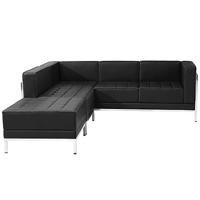 Flash Furniture Hercules Imagination Series Leather Sectional Configuration, 3 Pieces, Black (ZBIMAGSECTSET9)