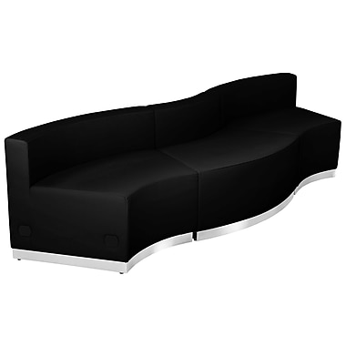 Flash Furniture – Mobilier de réception HERCULES Alon en cuir noir, 3 modules (ZB803720SBK)