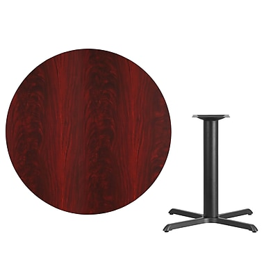 Flash Furniture 42'' Round Laminate Table Top, Mahogany with 33'' x 33'' Table-Height Base (XURD42MAT3333)
