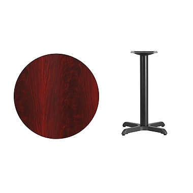 Flash Furniture 30'' Round Laminate Table Top, Mahogany with 22'' x 22'' Table-Height Base (XURD30MAT2222)
