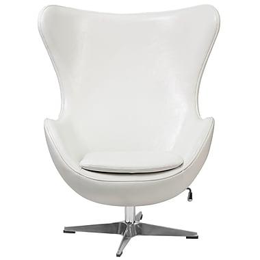 Flash Furniture Leather Egg Chair with Tilt-Lock Mechanism, White (ZB10)