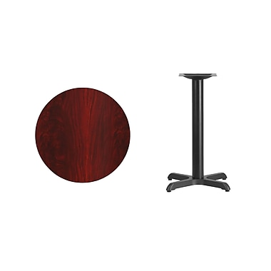 Flash Furniture 24'' Round Laminate Table Top, Mahogany with 22'' x 22'' Table-Height Base (XURD24MAT2222)