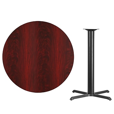 Flash Furniture 42'' Round Laminate Table Top, Mahogany with 33'' x 33'' Bar-Height Table Base (XURD42MAT3333B)