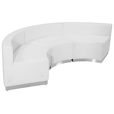 Flash Furniture Hercules Alon Series Leather Reception Configuration in White, 3 Pieces (ZB803740SWH)
