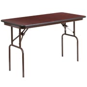 Flash Furniture 24'' x 48'' Rectangular Melamine Laminate Folding Banquet Table, Mahogany (YT2448MELWAL)