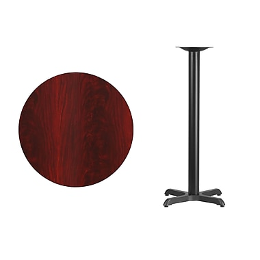 Flash Furniture 30'' Round Laminate Table Top, Mahogany with 22'' x 22'' Bar-Height Table Base (XURD30MAT2222B)