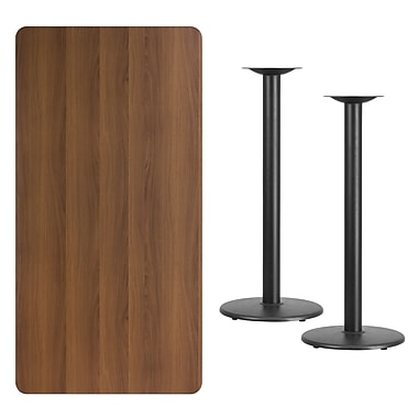 Flash Furniture 30'' x 60'' Rectangular Laminate Table Top, Walnut with 18'' Round Bar-Height Table Bases (XUWA3060TR18B)