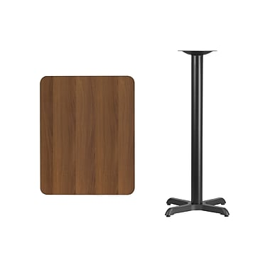 Flash Furniture 24'' x 30'' Rectangular Laminate Table Top, Walnut with 22'' x 22'' Bar-Height Table Base (XUWA2430T2222B)