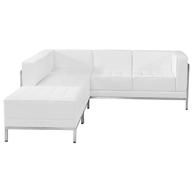 Flash Furniture Hercules Imagination Series Leather Sectional Configuration, 3 Pieces, White (ZBIMAGSECTSET9W)