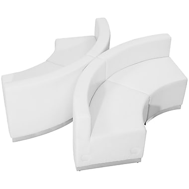 Flash Furniture Hercules Alone Series Leather Reception Configuration, 4 Pieces, White (ZB803840SWH)