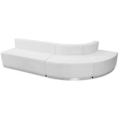 Flash Furniture Hercules Alone Series Leather Reception Configuration, 3 Pieces, White (ZB803790SWH)