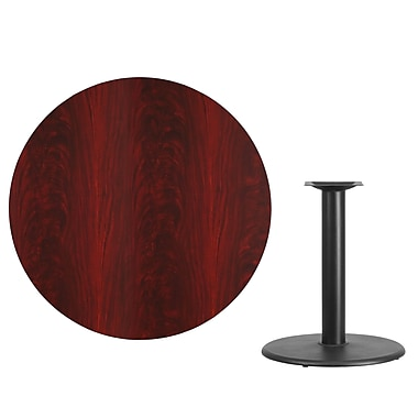 Flash Furniture 42'' Round Laminate Table Top, Mahogany with 24'' Round Table-Height Base (XURD42MATR24)
