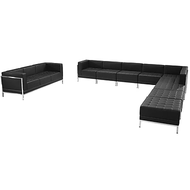 Flash Furniture Hercules Imagination Series Leather Sectional and Sofa Set, 10 Pieces, Black (ZBIMAGSET19)