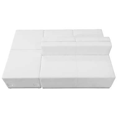 Flash Furniture – Mobilier de réception HERCULES Alon en cuir blanc, 4 modules (ZB803880SWH)