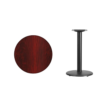 Flash Furniture 24'' Round Laminate Table Top, Mahogany with 18'' Round Table-Height Base (XURD24MATR18)